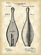 Bowls Digital Art Framed Prints - Bowling Pin Patent Framed Print by Stephen Younts