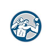 Boxer Boxing Boxing Circle Retro Print by Aloysius Patrimonio