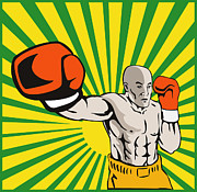 Heavyweight Digital Art Prints - Boxer Boxing Jabbing Front Print by Aloysius Patrimonio