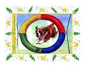 Boxer Drawings Prints - Boxer Dog Christmas Print by Olde Time  Mercantile