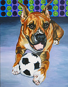 Boxer Painting Prints - Boxer Print by Louise Hallauer