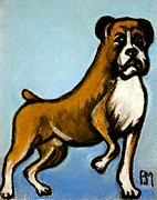 Dog Portraits Pastels Prints - Boxer Print by Pete Maier