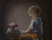Toy Boat Paintings - Boy and his Boat by Andrea Vreken
