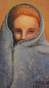 Little Boy Prints - Boy in Blanket Print by Mary Frazee