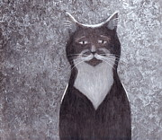 Cat And Moon Paintings - Brad Catt by Kazumi Whitemoon
