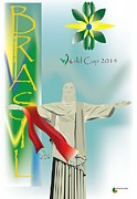 World Cup Mixed Media Framed Prints - Brasil World cup 2014 Framed Print by Herman Cerrato