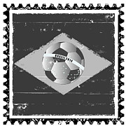 National Championship Posters - Brazil flag like stamp in grunge style Poster by Michal Boubin
