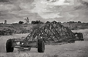 Owner Drawings Prints - Breaking Ground Agriculture Machine Pencil Artwork Print by Arco Montufar