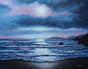 Perspective Paintings - Breaking Waves Coumeenole Beach by John  Nolan