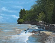 Niagara On The Lake Paintings - Breakwall on the Shore of Lake Ontario by Ken Messinger-Rapport