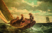 Stormy Weather Digital Art Posters - Breezing Up Poster by Winslow Homer