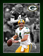 Sports Art Framed Prints - Brett Favre Packers Framed Print by Joe Hamilton