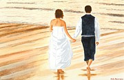 Peter Farrow Metal Prints - Bride and Groom - Beach Walk at Sunset Metal Print by Peter Farrow