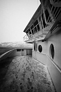Passenger Ferry Prints - Bridge And Snow Covered Walkway On Board Hurtigruten Ferry Passenger Ship Docked In Hammerfest Durin Print by Joe Fox