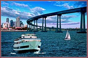 Buildings In The Harbor Digital Art Prints - Bridge Over Troubled Water Print by Ronald Chambers
