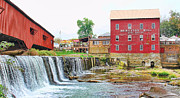 Bridgeton Mill Prints - Bridgeton Mill and Covered Bridge Print by Jack Schultz