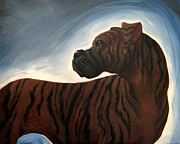 Brindle Drawings Posters - Brindle Boxer Poster by Jessica Pryor