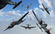Medium Attack Bomber Framed Prints - British Supermarine Spitfires Attacking Framed Print by Mark Stevenson