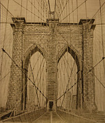 Brooklyn Bridge Drawings Posters - Brooklyn Bridge Poster by Roozbeh Mirebrahimi