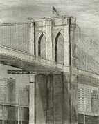 Brooklyn Bridge Drawings Posters - Brooklyn Gothic Poster by Carl Frankel