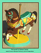 Wood Sculpture Posters - Brown Carousel Horse Poster by Barbara Snyder and Keith Zimmerman