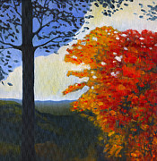 Indiana Autumn Painting Prints - Brown County Indiana Print by Katherine Miller