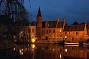 Rosary Photo Posters - Bruges Rozenhoedkaai Night Scene Poster by Kiril Stanchev