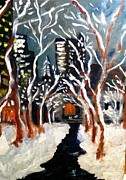 Bryant Paintings - Bryant Park Winter Night NYC by Jean Messner