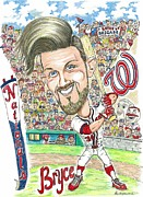 Washington Nationals Mixed Media - Bryce Harper Caricature by Paul Nichols