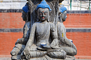 Religious Art Photos - Buddha Figure in Kathmandu Nepal by Robert Preston