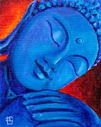 Spiritual Paintings - Buddha in Blue by Peta Garnaut