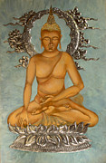 Egg Tempera Digital Art Prints - Buddha Print by Mary jane Miller