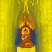 Splash Digital Art Posters - Buddha Poster by Stylianos Kleanthous