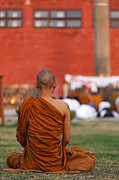 Buddhist Monk Photos - Buddhist monk at Lumbini in Nepal by Robert Preston