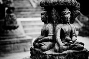 Sculpture Ideas Framed Prints - Buddhist Sculpture Near Swayambhunath Framed Print by Raimond Klavins
