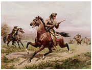 Mauer Paintings - Buffalo Bill Fighting Indians by Louis Maurer