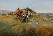 Horse And Riders Prints - Buffalo Hunt Print by Charles Marion Russell