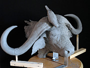 Sculpture Prints Sculpture Prints - Buffalo Print by Roberto Bianchi