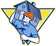 Builder Construction Worker Hammer House Print by Aloysius Patrimonio