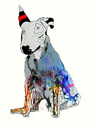 Terriers Drawings Prints - Bull Terrier  Print by Brian Buckley