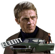 Steve Mcqueen Framed Prints - Bullitt McQueen Steve McQueen Framed Print by Iconic Images Art Gallery David Pucciarelli