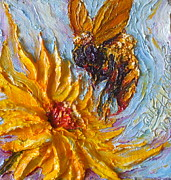 Impasto Oil Paintings - Bumble Bee and Yellow Flower by Paris Wyatt Llanso