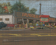 Produce Drawings Originals - Burgers Market by Donald Maier