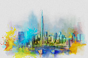 Oil Portrait Painting Originals - Burj Khalifa Skyline  by Corporate Art Task Force