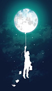 Moon Digital Art Metal Prints - Burn the midnight oil Metal Print by Budi Satria Kwan