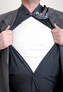 White T-shirt Photos - Business superhero by Antony McAulay