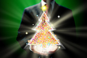 Christmas Star Mixed Media Posters - Businessman With Christmas Poster by Atiketta Sangasaeng