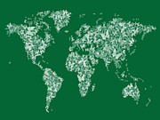 Green Background Posters - Butterflies Map of the World Map Poster by Michael Tompsett