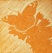 Linocut Mixed Media Posters - Butterfly on a Gaillardia Poster by Verana Stark