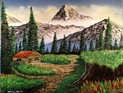 Log Cabin Art Paintings - Cabin in the Mountains by Michael Rucker